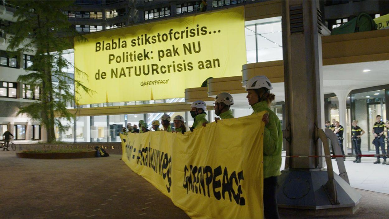 Afbeelding van Actievoerders Greenpeace vragen aandacht voor de natuurschade door stikstof.