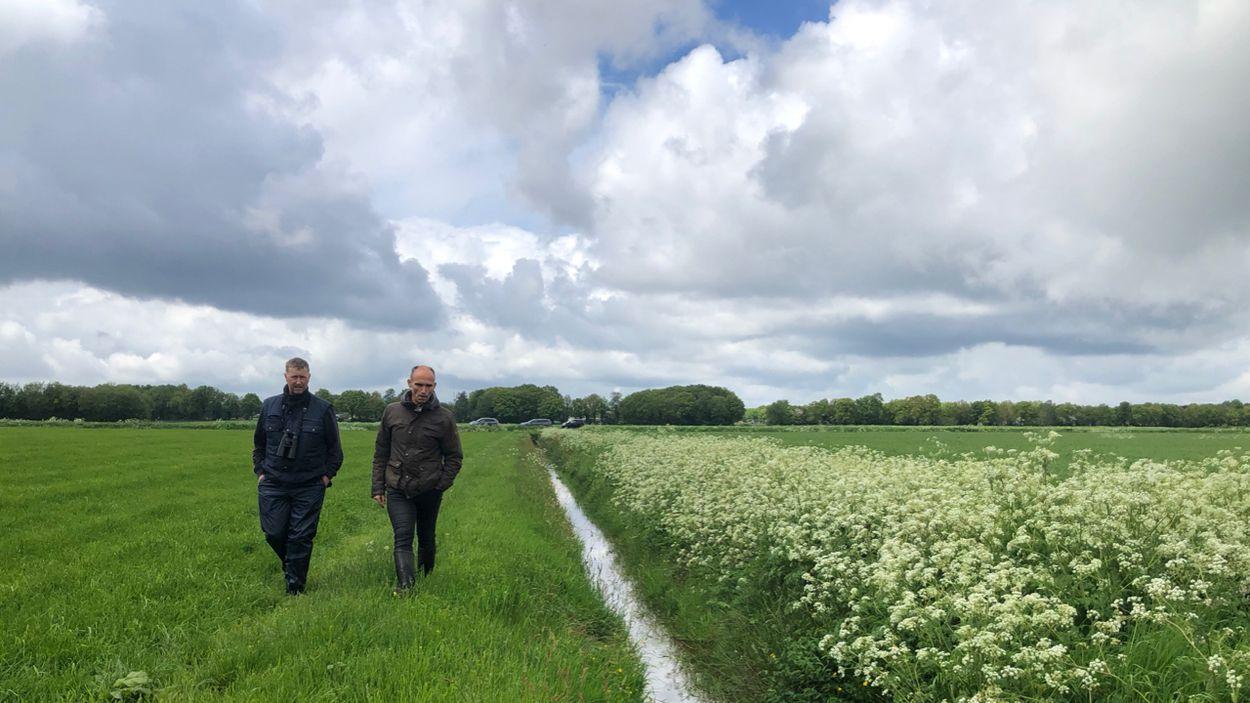 Henk-Jan Ottens (Kenniscentrum Akkervogels) en Paul Hendriks (waterschap Hunze en Aa's